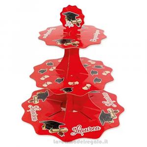 Alzatina cupcake in cartone Laurea 35 cm - Party allestimento