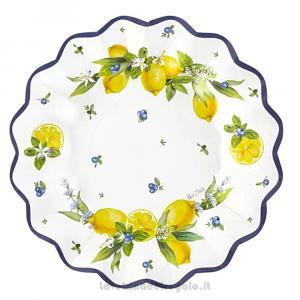8 pz - Piatti Lemon Chic con limoni Matrimonio 27 cm - Party tavola