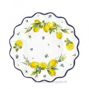 8 pz - Piatti piccoli Lemon Chic con limoni Matrimonio 21 cm - Party tavola