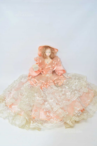 Doll Vintage In Porcelain With Dress Pink Antique And Lace White