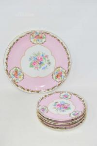 Service Of 5 Dessert Plates + Plate Big Copy Limoges Color Pink And Gold