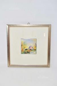 Quadro Dipinto Su Tavola Raffigurante Laghetto Con Casa Dimensione 27 X 27 Cm