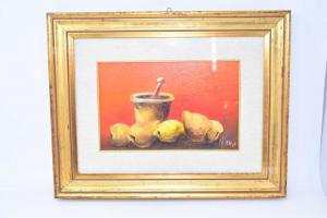 Quadro Dipinto Natura Morta Su Sfondo Arancione Dimensione 48 X 38 Cm