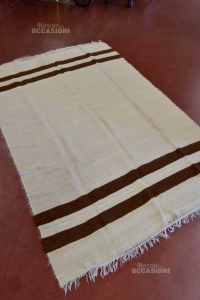 Carpet African In Real Wool Striped Brown 214x138 Cm