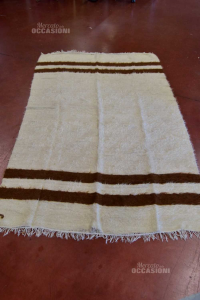 Carpet African In Real Wool Striped Brown Light 137x217 Cm