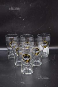 6 Beer Glasses Lander Brau Height 12 Cm