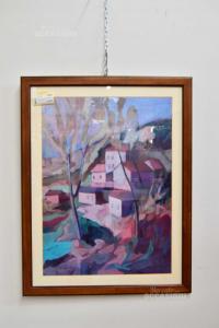 Quadro Stampa Renato Nesi Paesaggio Con Case Con Cornice In Legno 64x82 Cm