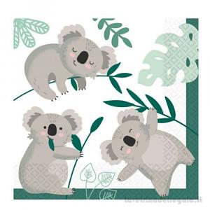 16 pz - Tovaglioli Koala Compleanno bimbo 33x33 cm - Party tavola