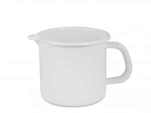 Pignatto Smalto Con Bordo Bianco Latte Cm 12