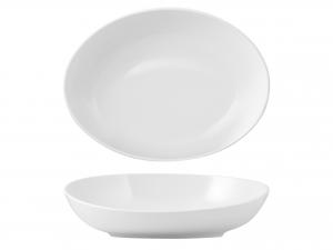 Coppa Ovale In Porcellana, 47x36 Cm, Bianco