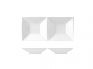 Antipastiera Porcellana Bianco 2 Posti 23x11,5  He3462