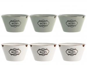 6 Bolo In Stoneware Vintage Assortiti Cm12,5
