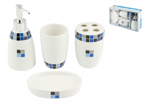 Set Bagno 4 Pezzi Ceramica Decoro Lilly