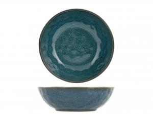 4 Piatti In Stoneware Mykonos Blu Fondo Cm18