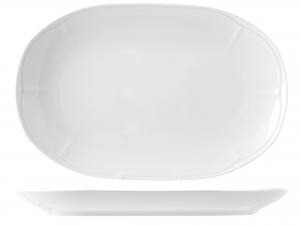 Piatto In Porcellana Jastra Bianco Ovale Cm 33
