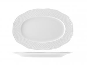 Piatto In Porcellana Arianna Bianco Ovale Cm28