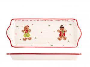 H&h Gingerbread Vassoio, Ceramica, 12x32cm