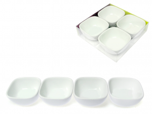 Set 4 Antipastiera Porcellana Bianco Quadr10 0453