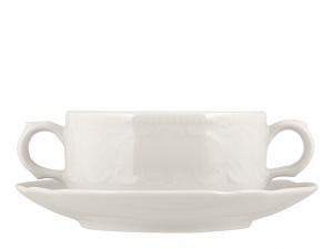 Tazza Brodo Con Piatto In Porcellana Salzb Bianco 0,28sk