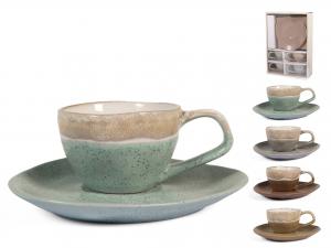 H&h Malika Set 4 Tazze Tè Con Piattino, Stoneware, Colori As