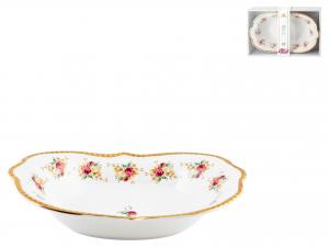 Centrotavola Porcellana Decoro Fiori 19x30xh7