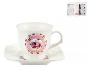 Confezione 2 Tazzine Caffe'pcl Decoro Fiori Rosa Con Piatto