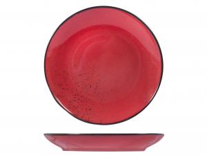 6 Piatti In Stoneware Reactive Ros Frutta 20,5
