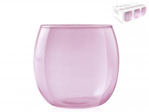 H&h Set 6 Bicchieri In Vetro Bubbly Orchidea Acqua Cc 460