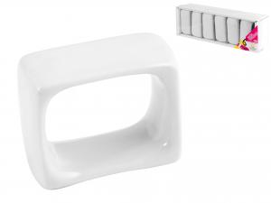 Confezione 6 Legatovaglioli Porcellana Bianco     6007