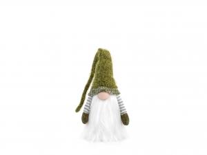 H&h Gnomo In Tessuto Verde Con Led, Cm54