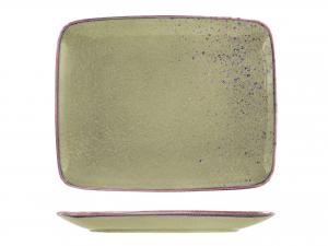 Piatto In Stoneware Reactive Verde Rettangolare 29x23