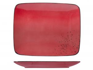 Piatto In Stoneware Reactive Rosso Rettangolare 29x23