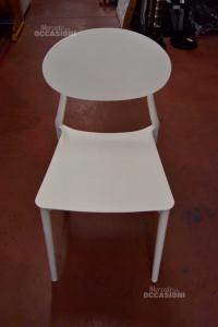 6 Sedie In Plastica Bianche Da Esterno E Interno Made In Italy