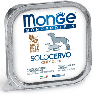 MONGE MONOPROTEICO SOLO CERVO PATE' PER CANE 150GR