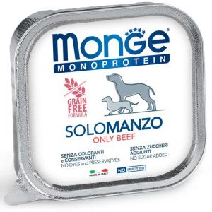 MONGE MONOPROTEICO SOLO MANZO PATE' PER CANE 150GR