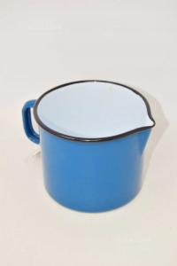 Pentolino In Latta Blu Petrolio Vintage 10.5x12 Cm
