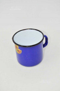 Pentolino In Latta Blu Vintage 8x8 Cm