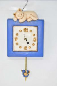 Orologio Thun Gatto E Uccellino ( Difetto Becco ) Funzionante 20x26x6 Cm + Pendolo