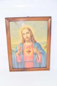 Quadro Stmapa Gesù 35x44 Cm Cornice In Legno
