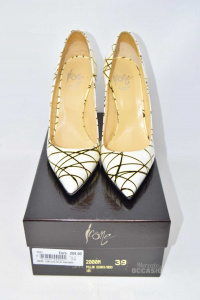 Pointed-toe Pump Woman Icons Cless Pollak White Black Striped N° 39 New