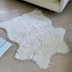 Tappeto pelliccia ecologica 130 X 150 bianco