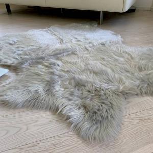Tappeto pelliccia ecologica 130 X 150 grigio