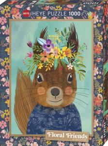 Heye 29953-Floral Friends puzzle 1000 pz Sweet Squirrel