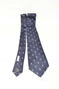 Cravatta Davide Cenci Blu Con Uomo Che Gioca A Polo