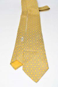 Cravatta Giallo Ocra Fantasia Intreccio Di Cavi Marca Hermes Paris Pura Seta
