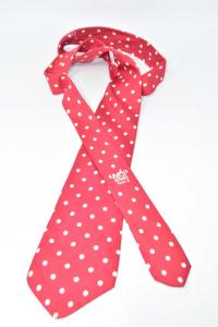 Cravatta Rossa Pois Beige Marca Hermes Paris In Pura Seta