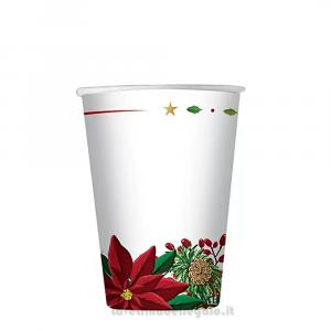 8 pz - Bicchieri Poinsettia Bouquet Natale - Party tavola
