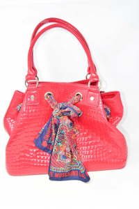 Borsa Love Moschino Rossa In Vernice Con Foulard E Dust Bag 40x15x28 Cm