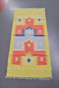 Carpet In Wool Yellow Orange And Light Blue 64 143 Cm