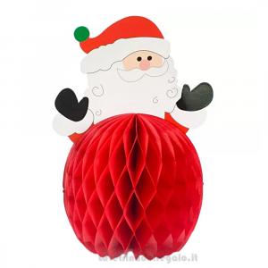 Centrotavola rosso con Babbo Natale a nido d'ape 17x25 cm - Party tavola